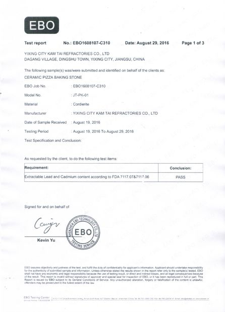 Chine Yixing City Kam Tai Refractories Co.,ltd Certifications